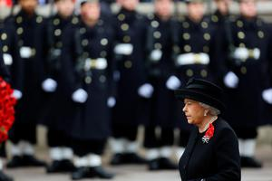 Queen Elizabeth II during the annual Remembrance Sunday service at the Cenotaph memorial in Whitehall. Gareth Fuller/PA Wire.