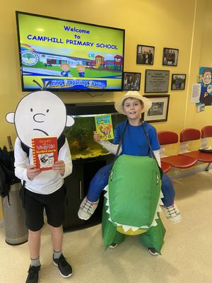 Adam & Ben McMaster-  age 9 – who are dressed as 'The Wimpy Kid' and the dinosaur and the kid Jamie from the Dinosaurs Cove book series.