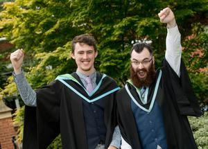 Jonathon ONeill and Rory OLoughlin are both celebrating success at Queens University Belfast having graduated with a degree in Music Technology and Sonic Arts.
