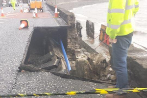 Picture shows a large area of the Rostrevor Road which collapsed due to continued bar weather. Pic Twitter