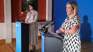 First Minister Arlene Foster and deputy First Minister Michelle O'Neill during the daily media broadcast in the Long Gallery at Parliament Buildings, Stormont on Thursday.