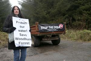Local resident Louise Boylan from Whitehead. The entrance to Woodburn Forest near Carrickfergus is being blocked by protesters and a trailer has been used to block access to it. Photograph By Declan Roughan Press Eye