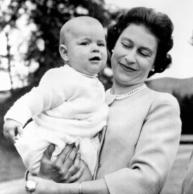 File photo dated 08/11/60 of Queen Elizabeth II holding Prince Andrew during an outing in the grounds at Balmoral, Scotland. He was the first child to be born to a reigning monarch for 103 years as the Queen turns 90 on the April 21st. PRESS ASSOCIATION Photo. Issue date: Sunday April 3, 2016. See PA story ROYAL Birthday. Photo credit should read: PA Wire