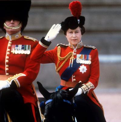 File photo dated 15/06/85 of Queen Elizabeth II taking the salute of the Household Guards regiments during the Trooping of the Colour ceremony in London as she turns 90 on the April 21st. PRESS ASSOCIATION Photo. Issue date: Sunday April 3, 2016. See PA story ROYAL Birthday. Photo credit should read: PA Wire