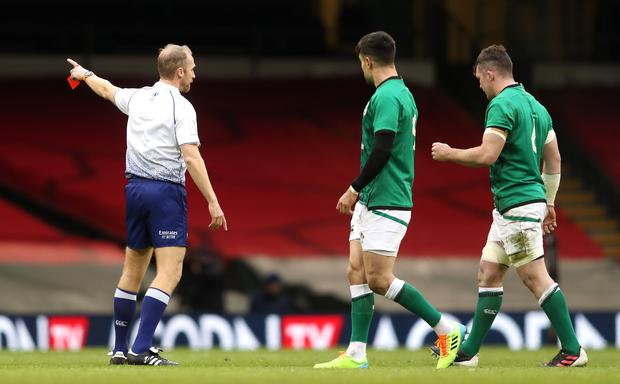 Peter O'Mahony, right, was dismissed by referee Wayne Barnes just 14 minutes into Ireland's 2021 Guinness Six Nations campaign (David Davies/PA)