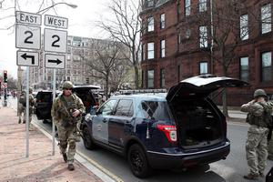 BOSTON, MA - APRIL 15:  Massachusetts State Police guard an area near Kenmore Square after two bombs exploded during the 117th Boston Marathon on April 15, 2013 in Boston, Massachusetts. Two people are confirmed dead and at least 23 injured after two explosions went off near the finish line to the marathon.  (Photo by Alex Trautwig/Getty Images)