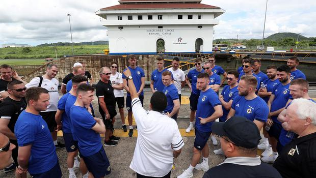 Press Eye - Belfast -  Northern Ireland - 28th May 2018 - Photo by William Cherry/Presseye  Northern Ireland players visit the Panama Canal on Monday morning as part of their summer tour to Panama and Cost Rica. The Canal is a 77.1-kilometre ship canal in Panama that connects the Atlantic Ocean to the Pacific Ocean. Photo by William Cherry/Presseye