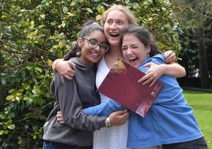 Pacemaker Press 30/07/2019 Students From L-R  Manpreet Kaur and Kirsten Mathews and Sarah Hand    at Victoria College in Belfast receive get their results on Thursday Morning. About 28,00 students their A Level and AS results across N Ireland with  over  30 per cent  of entries were awards A* or A grades. Pic Colm Lenaghan /Pacemaker