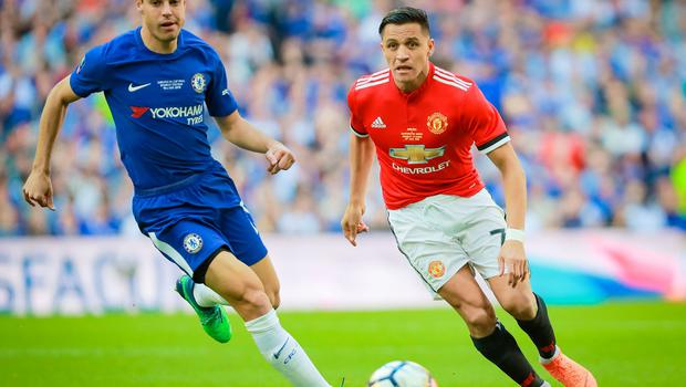 Manchester United's Alexis Sanchez and Chelsea's Cesar Azpilicueta in action during the FA Cup final at Wembley on May 19th 2018 (Photo by Kevin Scott / Belfast Telegraph)