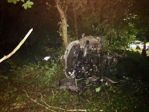 The wreckage of the car. Credit: PSNI Dungannon and South Tyrone Facebook