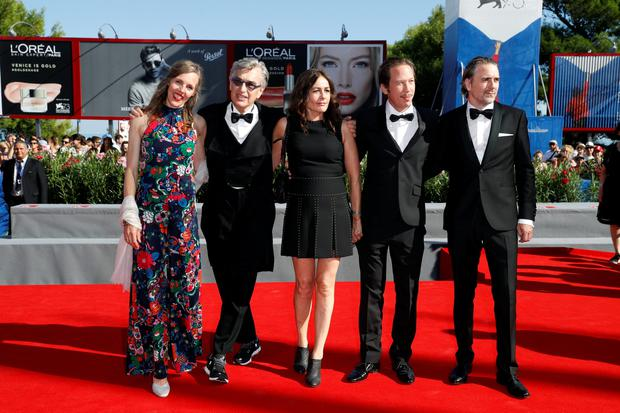 VENICE, ITALY - SEPTEMBER 01:  (L-R) Donata Wenders, director Wim Wenders, actors Sophie Semin, Reda Kateb and Jens Harze  attend the premiere of 'Les Beaux Jours D'Aranjuez' during the 73rd Venice Film Festival at Sala Grande on September 1, 2016 in Venice, Italy.  (Photo by Andreas Rentz/Getty Images)
