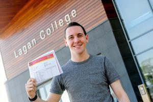 PACEMAKER BELFAST   13/08/15  Students from Lagan College Belfast receive their results today.  With an impressive number of A* & As.  Pictured David Beattie Photo: Pacemaker Press