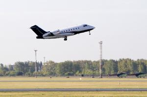 A German special medical plane takes off with Russian opposition leader Alexei Navalny on the board from an airport in Omsk on Saturday (Evgeniy Sofiychuk/AP)