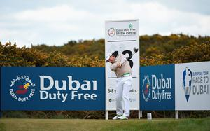 NEWCASTLE, NORTHERN IRELAND - MAY 28:  Padraig Harrington of Ireland tees off on the 18th hole during the First Round of the Dubai Duty Free Irish Open Hosted by the Rory Foundation at Royal County Down Golf Club on May 28, 2015 in Newcastle, Northern Ireland.  (Photo by Ross Kinnaird/Getty Images)