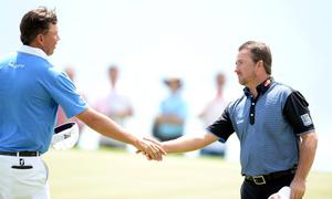 KAVARNA, BULGARIA - MAY 18:  Graeme McDowell of Northern Ireland beats Bo Van Pelt of the USA during the last 16 matches on day three of the Volvo World Match Play Championship at Thracian Cliffs Golf & Beach Resort on May 18, 2013 in Kavarna, Bulgaria.  (Photo by Ross Kinnaird/Getty Images)