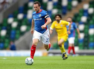 Linfield's Jamie Mulgrew during Wednesday night's Champions League qualifier 1st round 1st leg tie at the National Stadium at Windsor Park, Belfast. [Photo by William Cherry/Presseye 280617]