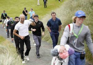 PressEye Belfast - Northern Ireland - 5th July 2017  Rory McIlroy, AP McCoy and Pep Guardiola on the 7th during the Pro-Am at the Dubai Duty Free Irish Open Golf Championship at Portstewart Golf Club. Picture by Peter Morrison/PressEye.com   Picture by Peter Morrison/PressEye.com