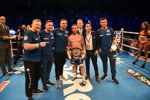 PACEMAKER BELFAST 21/04/2018   THE VACANT WBO INTERIM WORLD FEATHERWEIGHT CHAMPIONSHIP 12 X 3 Minute Rounds CARL FRAMPTON  8st 13lbs 3oz V NONITO DONAIRE 8st 13lbs 5oz. Picture Mark marlow