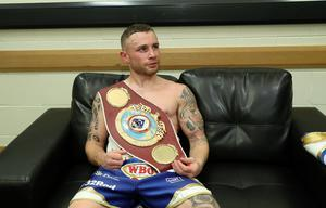 Press Eye - Belfast -  Northern Ireland - 21st April 2018 - Photo by William Cherry/Presseye  Carl Frampton celebrates after defeating Nonito Donaire to win the WBO Interim featherweight title at the SSE Arena, Belfast on Saturday night.