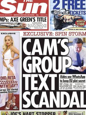 The Sun's front page on Wednesday.
