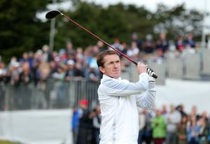 Press Eye - Belfast - Northern Ireland - 27th May 2015? Dubai Duty Free Irish Open at Royal County Down Pro-Am Jockey Tony McCoy on the 1st tee. Picture by Kelvin Boyes / Press Eye?