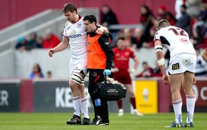 Sidelined: Iain Henderson limps off at Thomond Park