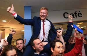 Daniel McCrossan (SDLP) elected West Tyrone as part of The Northern Ireland Assembly Election 2016 at Omagh Leisure Centre.  picture by John McVitty / Press Eye
