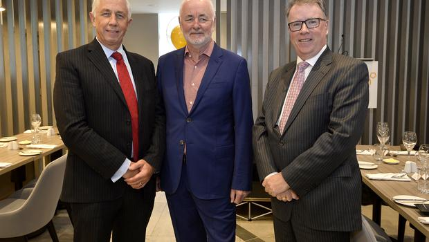 17th May 2018 John Hennessy,Terence Brannigan and Pat McCann pictured at the Grand opening of the new Maldron Hotel in Brunswick street in Belfast  Mandatory Credit: Presseye/Stephen Hamilton