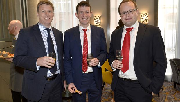 17th May 2018 Dale Guest ,Maurice Healy and Robb Quinn pictured at the Grand opening of the new Maldron Hotel in Brunswick street in Belfast  Mandatory Credit: Presseye/Stephen Hamilton