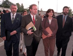 PACEMAKER BELFAST A Sinn Fein delegation arrive at Stormont for talks with the then Secretary of State Mo Mowlam (date 6/8/97) Among the delegation are Martin Ferris (left) the now North Kerry TD, Martin McGuinness (2nd left) and Gerry Adams (right) the Sinn Fein leader.  PHOTO  STEPHEN DAVISON/PACEMAKER