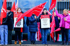 Kevin Scott / Belfast Telegraph   Friday 13th March 2015 - Public Sector Strikes  Pictured members of the UNITE AND NIPSA union on strike outside the Royal Victoria Hospital in Belfast on Friday 13th March.    Picture - Kevin Scott / Belfast Telegraph