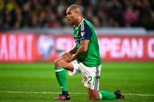 HANOVER, GERMANY - OCTOBER 11: Josh Magennis of Northern Ireland reacts to a missed chance during the FIFA 2018 World Cup Qualifier between Germany and Northern Ireland at HDI-Arena on October 11, 2016 in Hanover, Lower Saxony.  (Photo by Stuart Franklin/Bongarts/Getty Images)