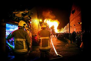 The controversial Chobham Street Bonfire being lit on the Eleventh Night in Belfast. Kevin Scott/Presseye.