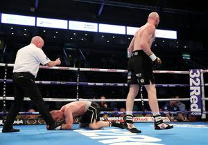 Press Eye - Belfast -  Northern Ireland - 21st April 2018 - Photo by William Cherry/Presseye  Steven Ward with Michal Ciach during Saturday nights International Light-Heavyweight weight contest at the SSE Arena, Belfast