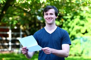 Picture - Kevin Scott / Belfast Telegraph  Belfast - Northern Ireland - Thursday 13th August 2015 - A Level Results Day   Pictured is Louis MaGowan during A level results day at RBAI / Inst   Picture - Kevin Scott / Belfast Telegraph