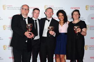Left to right. Birger Larson, Joe Dempsey, Robert Jones, Karla Crome and Kath Mattock with the Single Drama Award for Murder, at the 2013 Arqiva British Academy Television Awards at the Royal Festival Hall, London. PRESS ASSOCIATION Photo. Picture date: Sunday May 12, 2013. See PA story SHOWBIZ Bafta. Photo credit should read: Ian West/PA Wire