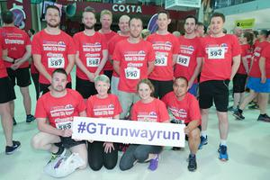 GRANT THORNTON RUNWAY RUN SCALES NEW HEIGHTS The team from Whale Pumps get warmed up for last nightÕs Grant Thornton Runway Run at Belfast City Airport. The hugely-popular event attracted a record number of runners as 600 local businessmen and women took part in the 5k run on the tarmac of the airport. Teams of four from organisations across a wide range of sectors came together for the third year of the leading business advisory firmÕs event. Ê