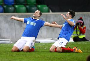 Press Eye - Belfast -  Northern Ireland - 12th January 2016 - Photo by William Cherry  Linfield's Guy Bates celebrates scoring against Ballymena during Tuesday's County Antrim Shield final at Windsor Park, Belfast.