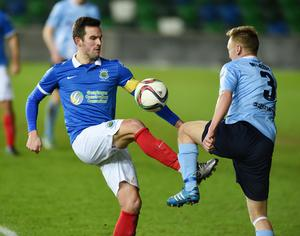 PACEMAKER BELFAST   12/01/2016 Linfield v Ballymena United  Co Antrim Shield final Linfields Andrew Waterworth and Ballymenas Stephen McBride during this evenings game at Windsor park in Belfast. Photo Charles McQuillan/Pacemaker Press