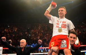 Carl Frampton stopped Hugo Cazares in the second round of their title eliminator fight at the Odyssey Arena in Belfast