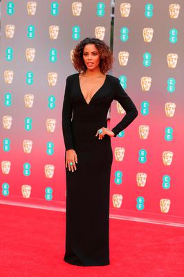 Singer Rochelle Humes poses on the red carpet upon arrival at the BAFTA British Academy Film Awards at the Royal Albert Hall in London on February 18, 2018. / AFP PHOTO / Daniel LEAL-OLIVASDANIEL LEAL-OLIVAS/AFP/Getty Images