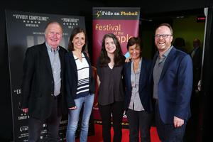 Press Eye Belfast - Northern Ireland - 31st July 2016    Brendan Wright, Catherine James, Jennifer Wright, Siobhan Wright and Trevor Birney are pictured at the film premiere of Bobby Sands: 66 Days at the Omniplex Cinema at the Kennedy Centre in west Belfast.  The premiere was hosted with Féile An Phobail and West Belfast Film Festival.  Photo by Kelvin Boyes  / Press Eye