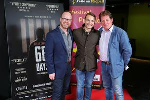Press Eye Belfast - Northern Ireland - 31st July 2016    Trevor Birney, Martin McCann and Brendan Byrne are pictured at the film premiere of Bobby Sands: 66 Days at the Omniplex Cinema at the Kennedy Centre in west Belfast.  The premiere was hosted with Féile An Phobail and West Belfast Film Festival.  Photo by Kelvin Boyes  / Press Eye