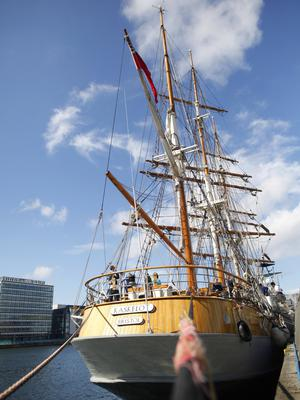 The Kaskelot joins the ships in the Maritime festival in Belfast.  Pic by Peter Morrison
