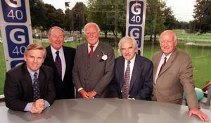 Steve Ryder, David Coleman, Peter Dimmock, Des Lynam and Frank Bough during a celebration for the 40th anniversary of Grandstand (BBC/PA)
