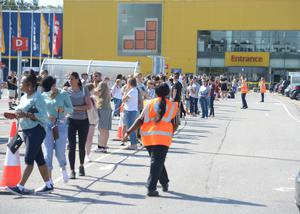People queuing at the Ikea store in Lakeside, Thurrock, Essex on its reopening day (Nick Ansell/PA)