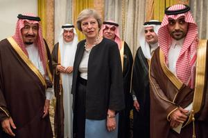 Prime Minister Theresa May meets King Salman bin Abdulaziz al Saud of Saudi Arabia (left) in Manama, Bahrain, where she is on a three day visit to attend the Gulf Cooperation Council summit. PA