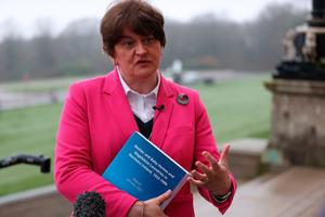 First Minister Arlene Foster speaking to the media at Stormont following the publication of the research report on Mother and Baby Homes and Magdalene laundries in Northern Ireland. Liam McBurney/PA Wire