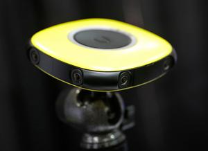 The Vuze 360 degree VR camera is displayed during CES Unveiled before CES International, Tuesday, Jan. 3, 2017, in Las Vegas. (AP Photo/John Locher)