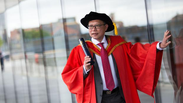 Anti-racism campaigner, Patrick Yu received the honorary degree of Doctor of Laws (LLD) for his advocacy for racial equality, diversity and multiculturalism over many years. (Photo: Nigel McDowell/Ulster University)